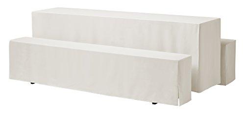 Dena 637117 Hussen-Set Rialto für Festzeltgarnitur, 100% Polyester, 220 x 70 cm, Creme