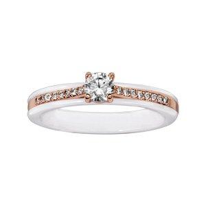 1001 Bijoux - Bague plaqué or rose anneau céramique blanche rail oxydes micro sertis et oxyde blanc serti griffes - tour de doigt 52