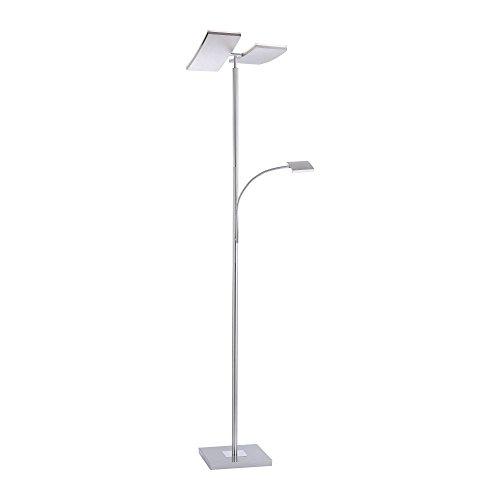 LED Deckenfluter dimmbar mit flexibler Leselampe und zweiteiligem Fluterkopf, LED Fluter, 1740 Lumen Stehlampe warmweiß Touchdimmer