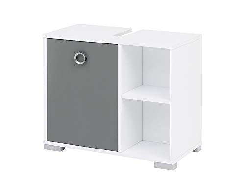 lifestyle4living Waschbeckenunterschrank für das Bad in Weiß und Grau | Badunterschrank mit 1 Tür und 2 offenen Fächern