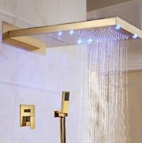 Luxurious shower Groß- und Einzelhandel LED Golden an der Wand montierte Duschkopf 3 Wege Ventil Mixer Niederschlag & Wasserfall Dusche Armatur mit Handbrause, Gelb (Niederschlag Brunnen)