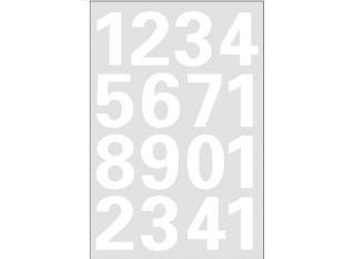 5mm, 0-9, wetterfest, Folie weiß, 1 Blatt (Zahlen 1 25)