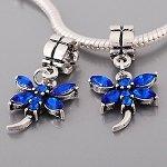 Buckets of Beads Rhinestone Dragonfly Dangle Charm Bead, Blue