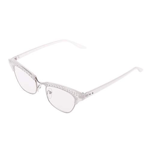 Hothap Mode Frauen Cat Eye Lesebrille Kristall Strass Dekoration Presbyopie Brillen Brillen 1,0 bis 3,5 (Damen Lesebrille Cat Eye)