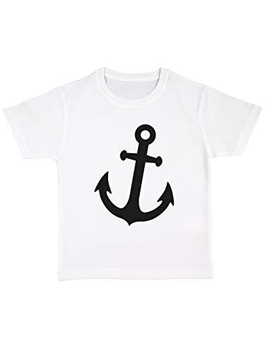 clothinx Kinder T-Shirt Bio Karneval Anker Weiß/Schwarz Größe 92 (Baby-jungen Für Seemann-kostüm)