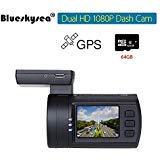Blueskysea Mini 0906 GPS Dual Dash Cam Car Camera (Mini 0906+64GB TF Card)