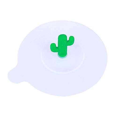 Vosarea Deckel für Tasse aus Silikon, transparent, Kaktus, Dunkelgrün