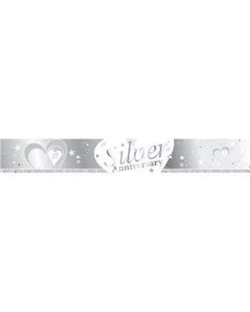 Silber und Weiß 25. Hochzeitstag SILVER ANNIVERSARY BANNER - 9FT (wiederholt 3 mal)