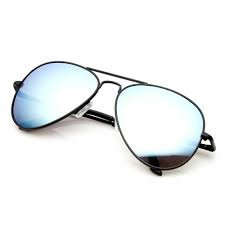 Black Metal Aviator Sunglasses, Silver Mirror Lens, Unisex Full UV 400