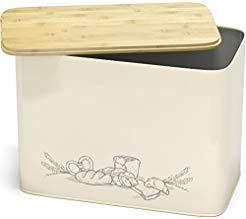 Großer Brotkasten mit Bambus Schneidebrett Deckel – XXL Vintage Brotbox & Toastbrotbox aus Metall im Retro Look – stylischer Metallbox Brottopf – spülmaschinengeeignet   EINWEG