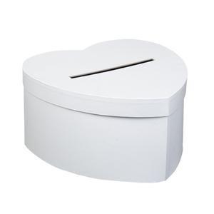 Urne cartonnée coeur blanc 25 cm