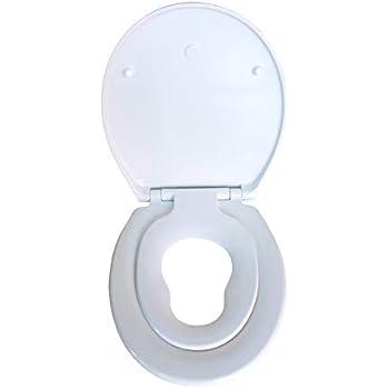 Toilettensitz mit integriertem Kindersitz Langlebig aus Duroplast und rostfreiem Edelstahl mit Absenkautomatik//Softclose Abnehmbar Antibakterielle Klobrille Queta Toilettendeckel Premium WC Sitz