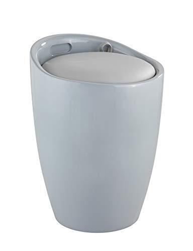 WENKO 25625100 Hocker Candy Grey, Wohnhocker, Badhocker, Wäschesammler mit abnehmbarem Wäschesack, Acrylnitril-Butadien-Styrol (ABS), 36 x 50.5 x 36 cm, Grau