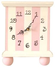 Pink Stripe Tabletop Clock