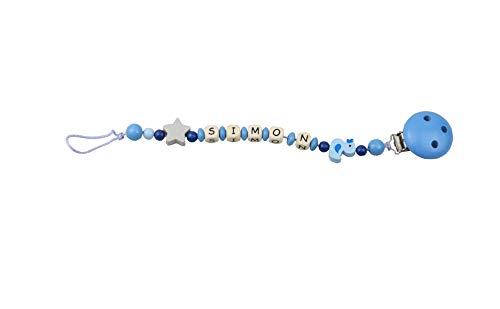Schnullerkette Ente Baby mit Namen, Schnullerkette personalisiert, Schnullerhalter mit Motiv (50_blau_Ente) -