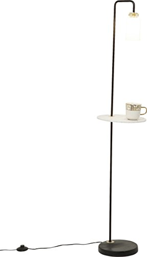 Kare Stehleuchte, Glas, Sockel: Marmor, Gestell: Stahl lackiert, Weiß, 23 x 23 x 150 cm -