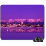Anchorage Skyline Evening Alaska Mouse Pad, Mousepad (Mountains Mouse Pad)