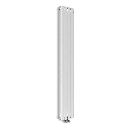 Design Röhren Heizkörper 230x1800mm Weiß Oval Paneelheizkörper Vertikal Mittelanschluss Doppellagig