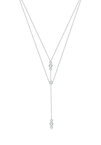 Elli  Chaîne Y Étoile Rond Base Geo Cristal Swarovski 925 Argent - 45cm