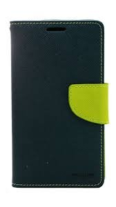 Micromax Canvas Nitro 2 E311 Mercury Flip Wallet Diary Card Case Cover (Blue/Green) By Mobile Life