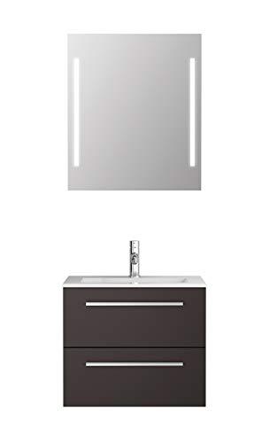 Badmöbel-Set Libato - 60 cm breit - Anthrazit Hochglanz - Badezimmermöbel Waschtisch mit Unterschrank Spiegel mit Beleuchtung Sieper Jokey