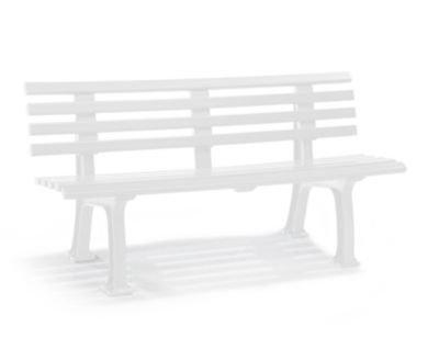 Parkbank aus Kunststoff - mit 9 Leisten - Breite 1500 mm, weiß - Bank Bank aus Holz, Metall, Kunststoff Bänke aus Holz, Metall, Kunststoff Gartenbank Kunststoff-Bank Kunststoff-Bänke Ruhebank