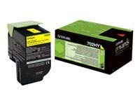 CS310/410/510 YELLOW TONER CRTR HC (702HY) RETURN 3k (LEX70C2HY0)