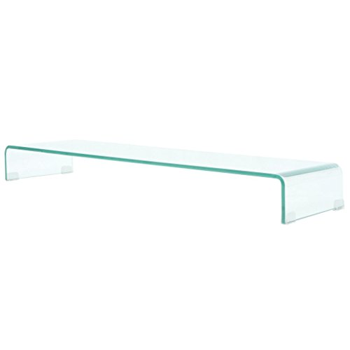 vidaXL TV-Tisch Aufsatz Monitor Erhöhung Glasbühne Podest Transparent 110x30x13
