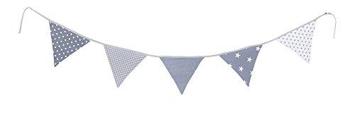 ULLENBOOM ® Wimpelkette Graue Sterne (Stoff-Girlande: 1,9 m, 5 Wimpel, farbenfrohe Deko für Kinderzimmer & Baby Geburtstage, Motiv: Sterne)