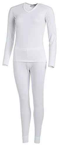 Medico Damen Wäsche Set Thermounterwäsche Funktionsunterwäsche Skiunterwäsche Weiß 36