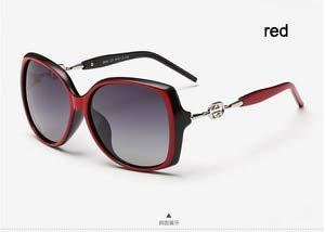 LKVNHP Hochwertige Mode Fahren Oculos De Sol Feminino Hd Uva Großen Rahmen Gradienten Sonnenbrille Frauen Polarisierte VintageWPGJ097 rot