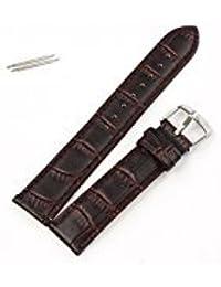Correas Relojes, DoraMe 18mm suave correa de cuero hebilla de acero reloj negro (F)