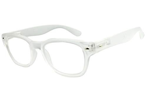 Lesebrille Damen weiß mit langem Bügel leicht eckige Gläser retro Lesehilfe Sehhilfe 1,5 2,0 2,5 3,0 3,5, Dioptrien:Dioptrien 3.0