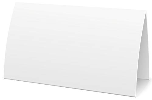 Extra große bedruckbare Namensschilder Tischkarten weiß blanko I 100 Stück Platzkarten neutral 11,5 x 5,5cm I Tischkärtchen Klappkarten Namenskärtchen Platzkärtchen