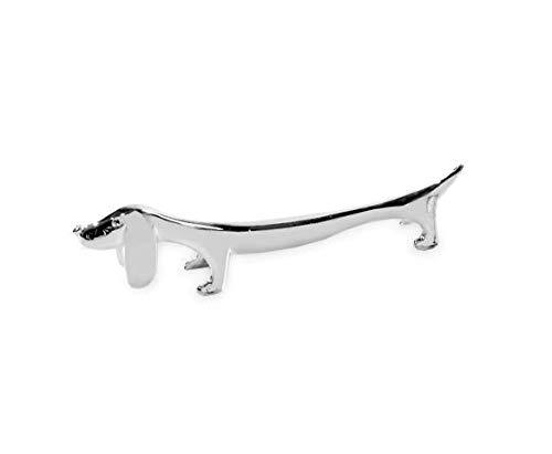 EDZARD 6er Set Messerbank Hund, Länge 9 cm, edel versilbert, anlaufgeschützt