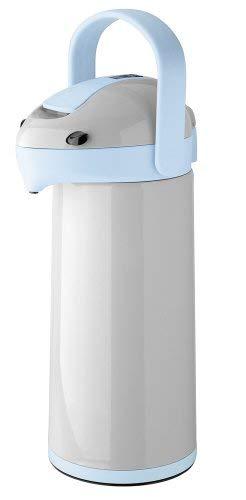 Helios Pump-Isolierkanne Airpot, 1,9 Liter, Kunststoff, grau/hellblau, Einhandbedienung
