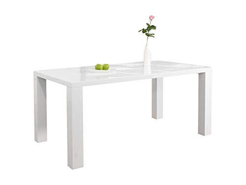 Ess-Tisch weiß Hochglanz aus MDF 120x80cm recht-eckig | Luca | Moderner Küchen-Tisch aus MDF-Holz weiss | Vierfußtisch Hochglanz weiß lackiert | Designer Esszimmertisch mit strahlender weißer Farbe -