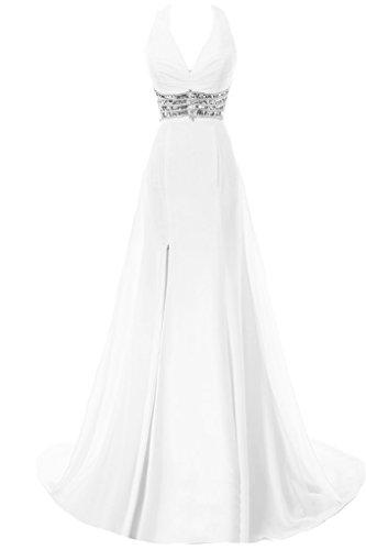 Gorgeous Bride Fashion V-Ausschnitte Neckholde Lang Chiffon Schleppe Schlitz Festkleider Abendkleider Ballkleider Weiß