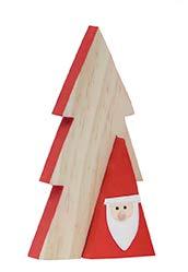 Tannen-Baum aus Holz Duo Santa/Holz-Deko Naturfarben & rot mit Herausnehmbarer Kleiner Weihnachtsmann-Figur- Deko-Figur - Nikolaus - Weihnachten - Weihnachts-Deko - Advent - Höhe 25 cm