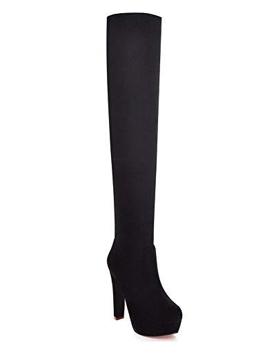 Minetom Mujer Invierno Moda Suede De La Rodilla Botas Tacón Alto Puntera Redonda Zapatos Botas (EU 37, Negro)