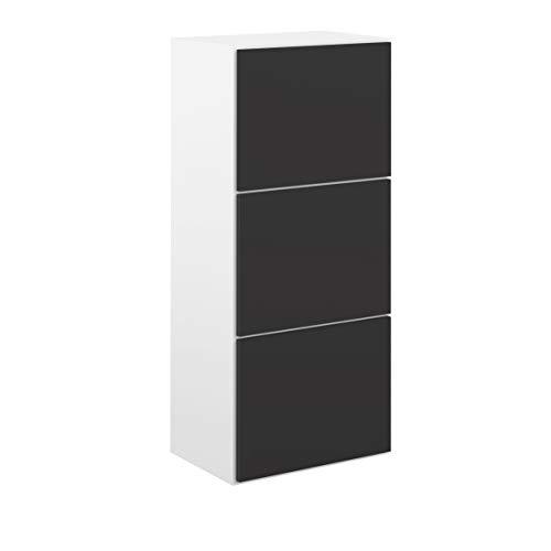 Movian Odiel - Armario zapatero, 50 x 33.1 x 118.7cm largo x ancho x alto, blanco y negro