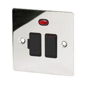 Fundido - interruptor doble con - plana - cromo pulido negro plástico...