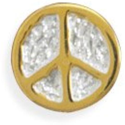 Due tono Pace Segno, perline in argento Sterling ciondolo simbolo della pace in argento Sterling placcato oro 14kt
