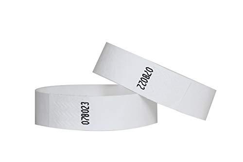 Confezione di 100braccialetti in carta Tyvek, 19mm, per eventi, festival,indistruttibili e personalizzabili,12colori disponibili 19mm bianco