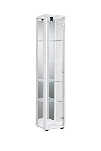 K-Möbel Glasvitrine Sammlervitrine Vitrine Beleuchtung Weiss mit Spiegel 176x37x33 cm incl. 4 Glasbeinlegeböden