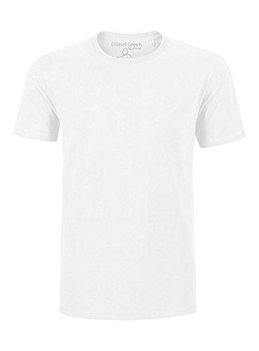 YTWOO Herren Basic Premium T-Shirt Rundausschnitt (200g/m2) Bio-Baumwolle Schwarz und Navy nachhaltige und Faire Mode Organic Cotton, GOTS (XL, Weiß) -
