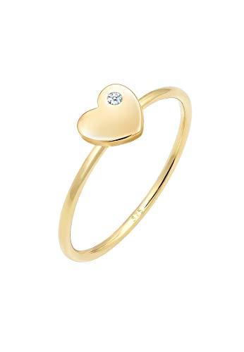 Elli Premium Ring Damen Bandring Herz Diamant (0.02 ct.) Love 375 Gelbgold