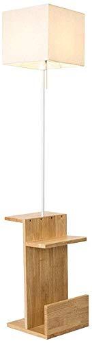 MY1MEY Standleuchte Home mall- Holz Stehlampe | Moderne minimalistische Stehlampe mit kleinem Tisch | für Wohnzimmer Schlafzimmer Arbeitszimmer 159cm