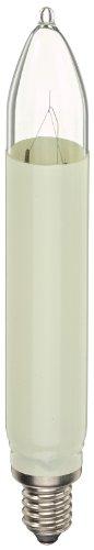 Hellum 902037- Bombilla de repuesto con forma de vela para iluminación interior y exterior (E10, 12 V, 3 W, 3 unidades), color marfil
