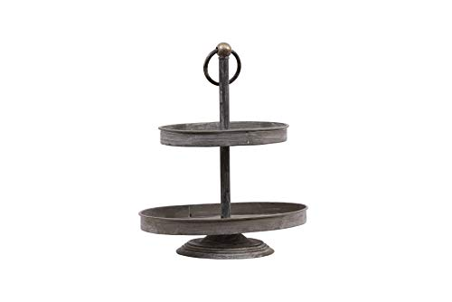 Creative Co-op Oval Metal 2-Tier Tray, Zinc -